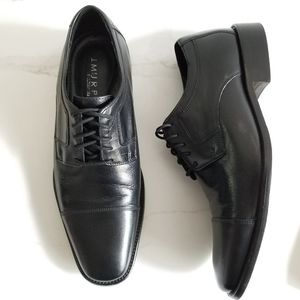 J. Johnston & Murphy Black Leather Novick Oxfords